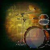 Abstrakcjonistyczny grunge tło z bębenu zestawem Fotografia Stock