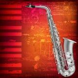 Abstrakcjonistyczny grunge tło z saksofonem Obrazy Royalty Free