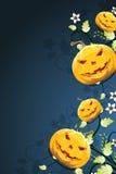Abstrakcjonistyczny Halloweenowy tło z kwiatami ilustracja wektor