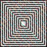 Abstrakcjonistyczny hipnotyczny tło z kontrast liniami i stubarwnymi kropkami Fotografia Royalty Free