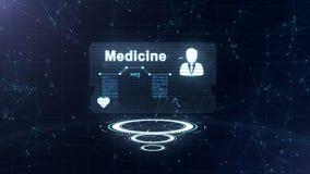 Abstrakcjonistyczny hologram Medycyny karta z g?ow? strzela? i znak t?tno, nacisk i niekt?re inni diagramy, niebieska abstrakcyjn royalty ilustracja