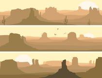 Abstrakcjonistyczny horyzontalny sztandar preryjny dziki zachód. ilustracji