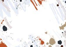 Abstrakcjonistyczny horyzontalny tło z kolorowymi farba śladami, smudges, kleksami i muśnięć uderzeniami na białym tle, kreatywni ilustracji