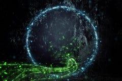 Abstrakcjonistyczny i magiczny wizerunek świetlika latanie w nocy bajki lasowym pojęciu royalty ilustracja