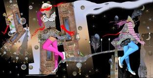 Abstrakcjonistyczny ilustracyjny dzień i noc, moda Obrazy Royalty Free