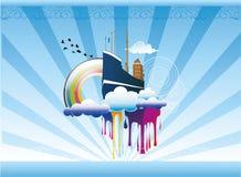 abstrakcjonistyczny ilustracyjny statku nieba wektor ilustracja wektor