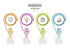 Abstrakcjonistyczny infographic z żarówką Infographics dla biznesowych prezentacj lub ewidencyjnych sztandaru 4 opcj Zdjęcie Stock