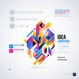 Abstrakcjonistyczny infographics układ z glansowanymi geometrycznymi elementami royalty ilustracja