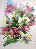 Abstrakcjonistyczny jaskrawy barwiony dekoracyjny tło Kwiecisty deseniowy handmade Piękny czuły romantyczny bukiet wiosna kwiaty ilustracja wektor