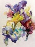 Abstrakcjonistyczny jaskrawy barwiony dekoracyjny t?o Kwiecisty deseniowy handmade Pi?kny czu?y romantyczny bukiet irysowi kwiaty royalty ilustracja