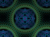 Abstrakcjonistyczny Kółkowy purpur, Błękitnego i Zielonego Fractal, ilustracja wektor