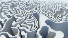 Abstrakcjonistyczny kędzierzawy deseniowy biały labityntu 3d rendering Obraz Stock