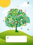 abstrakcjonistyczny karciany powitania wiosna czas drzewo ilustracji