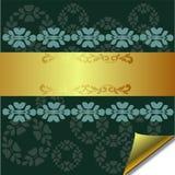 Abstrakcjonistyczny kartka z pozdrowieniami z złota i zieleni elementami Ilustracja Wektor