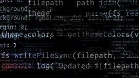 Abstrakcjonistyczny kod rusza się w wirtualnej przestrzeni zapętlający zbiory wideo