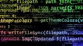 Abstrakcjonistyczny kod rusza się w wirtualnej przestrzeni zapętlający zbiory