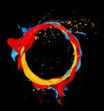 Abstrakcjonistyczny kolorów pluśnięć okrąg na czarnym tle Obrazy Stock