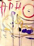 Abstrakcjonistyczny kolorowy acrilic obraz z pluśnięciem, przepływu puszkiem, kapinosami, uśmiechem i literowaniem, Obrazy Royalty Free