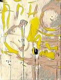 Abstrakcjonistyczny kolorowy acrilic obraz z pluśnięciem, przepływu puszkiem, kapinosami, uśmiechem i literowaniem, Zdjęcia Royalty Free