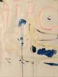 Abstrakcjonistyczny kolorowy acrilic obraz z pluśnięciem, przepływu puszkiem, kapinosami, uśmiechem i literowaniem, Obraz Royalty Free