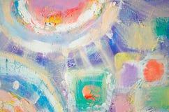 Abstrakcjonistyczny kolorowy akrylowy obraz kanwa Grunge tło Szczotkarskie uderzenie tekstury jednostki artystyczna tło Zdjęcia Stock