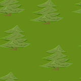 Abstrakcjonistyczny kolorowy drzewny lasowy bezszwowy deseniowy tło w kreskówka stylu zdjęcie stock