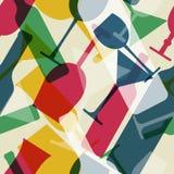 Abstrakcjonistyczny kolorowy koktajlu szkło i wino butelka bezszwowa tupoczemy Obraz Stock