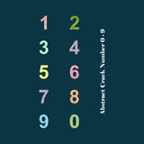 Abstrakcjonistyczny Kolorowy Krekingowy abecadło liczba (0), 9 - Zdjęcia Royalty Free