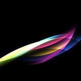 Abstrakcjonistyczny kolorowy krzywa wzór na czarnym tle ilustracji