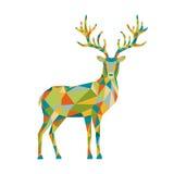Abstrakcjonistyczny kolorowy niski poli- trójboka rogacz odizolowywający na bielu plecy Obraz Royalty Free