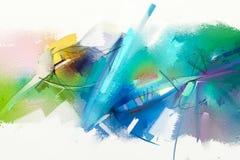 Abstrakcjonistyczny kolorowy obraz olejny na brezentowej teksturze Obrazy Royalty Free