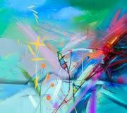 Abstrakcjonistyczny kolorowy obraz olejny na brezentowej teksturze Obrazy Stock