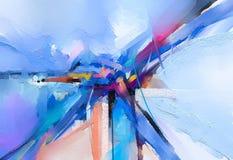 Abstrakcjonistyczny kolorowy obraz olejny na brezentowej teksturze Ręka rysujący szczotkarski uderzenie, nafcianego koloru obrazó royalty ilustracja