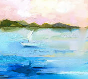 Abstrakcjonistyczny kolorowy obrazu olejnego krajobraz na kanwie Obrazy Stock