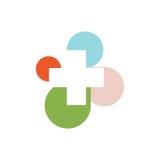 abstrakcjonistyczny kolorowy przecinający round medyczny logo religijny znak Fotografia Stock