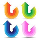 Abstrakcjonistyczny Kolorowy Strzałkowaty symbol, Wektorowa praca Zdjęcia Royalty Free
