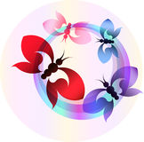 Abstrakcjonistyczny kolorowy sztandar z motylami Obrazy Stock