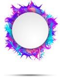Abstrakcjonistyczny kolorowy sztandar z round ramą na żywej farbie bryzga Zdjęcie Stock