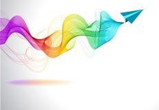 Abstrakcjonistyczny kolorowy tło z papierowym lotniczym samolotem Zdjęcia Stock