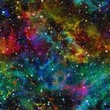 Abstrakcjonistyczny kolorowy wszechświat Mgławicy nocy gwiaździsty niebo Multicolor kosmos tło tekstury stara ceglana ściana ilus ilustracja wektor