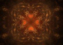 Abstrakcjonistyczny kolorowy yeloow i pomarańcze fractal na czarnym tle Fantazi fractal tekstura abstact głębokie sztuki czerwony ilustracja wektor