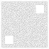 Abstrakcjonistyczny kompleksu kwadrata labirynt z wejściem i wyjściem Ciekawa gra dla dzieci i dorosłych Wektorowa ilustracja odi ilustracji