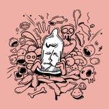 Abstrakcjonistyczny kondoma doodle styl Zdjęcia Royalty Free