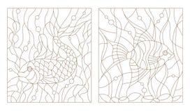 Abstrakcjonistyczny konturu set ilustracje, akwarium ryba w witrażu stylu Fotografia Stock