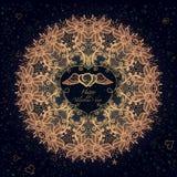 Abstrakcjonistyczny koronkowy wzór, round doily ilustracji