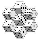 Abstrakcjonistyczny kostka do gry skład ilustracja wektor