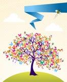 abstrakcjonistyczny krajobrazowy wiosna czas drzewo royalty ilustracja