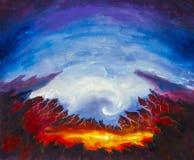 Abstrakcjonistyczny krater, wulkan, kolor żółty, pomarańczowa lawa do diabła Ostre góry Błękitny tło oryginału obraz olejny impre ilustracja wektor