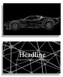 Abstrakcjonistyczny Kreatywnie pojęcia tło 3d samochodu model samochodowy siatki sportów wektor Poligonalny projekta stylu letter Zdjęcie Royalty Free