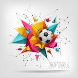 Abstrakcjonistyczny kryształ 3D faceted geometrycznego origami sztandar z piłki nożnej piłką, futbolowy wektorowy tło Obraz Stock